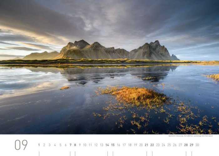 Kalenderblatt September 2019 Island