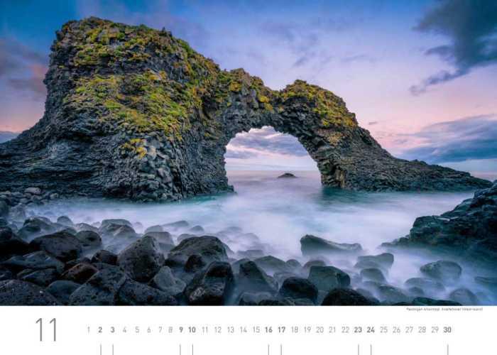Kalenderblatt November 2019 Island