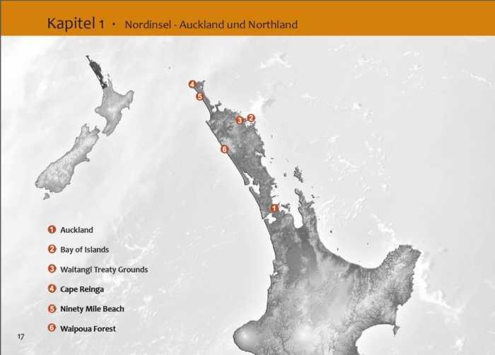 Übersichtskarte zu Auckland und Northland auf der Nordinsel