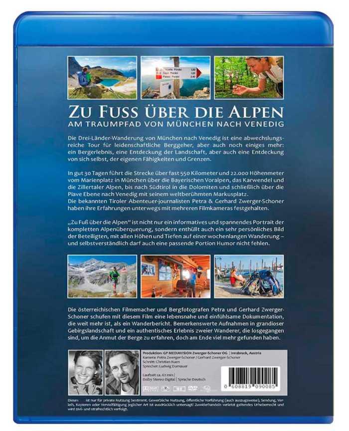 Bluray-Rückseite-Cover der prominenten Alpenüberquerung von Zwerger-Schoner