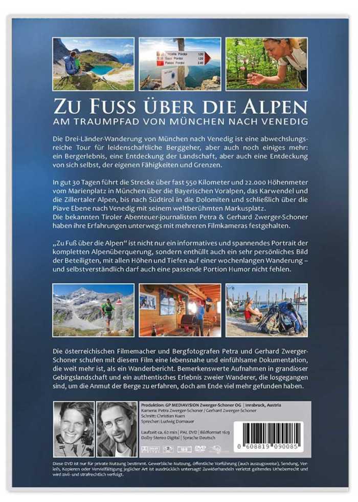 3-Länder-Wanderung von München nach Venedig auf DVD mit 50-seitigem Wanderführer