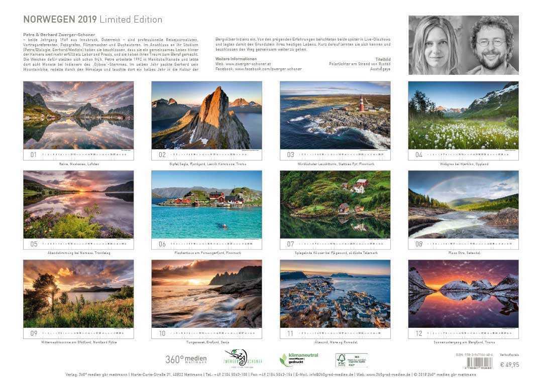 Kalenderbilder Norwegen 2019 Übersicht