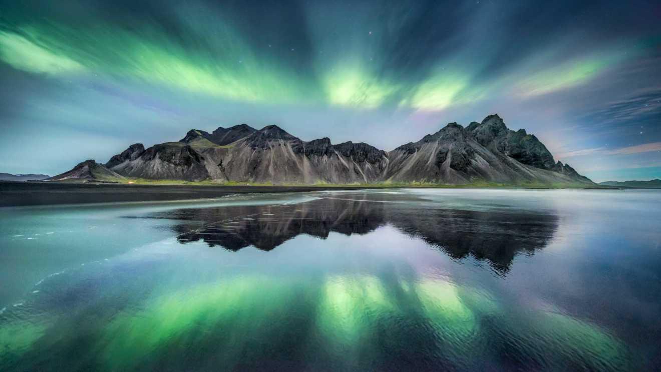 Stokksnes Polarlichter in Südisland
